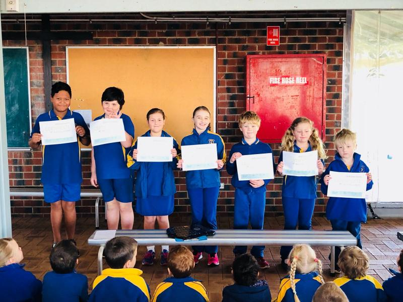 P & F Encouragement Award winners from 2018 Athletics carnival
